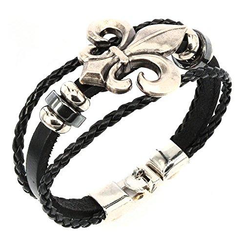 Fleur Wing - Aprilsky Women's Unisex Jewelry Leather Bracelet Fleur De Lis Charm Bangle Bracelet Black