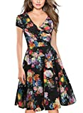 oxiuly Women's Vintage V-Neck Floral Casual Party Cocktail A-Line Dress OX233 (M, Black)