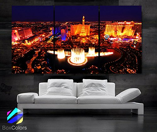 LARGE 30 x 60 3 Panels Art Canvas Print Beautiful skyline view Las Vegas Nevada night Wall Home Included framed