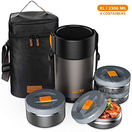 Home Puff Contigo-XL Lunch Box Stainless Steel Vacuum Insulated with Bag, 2.3L, 4 Containers, Grey Price & Reviews