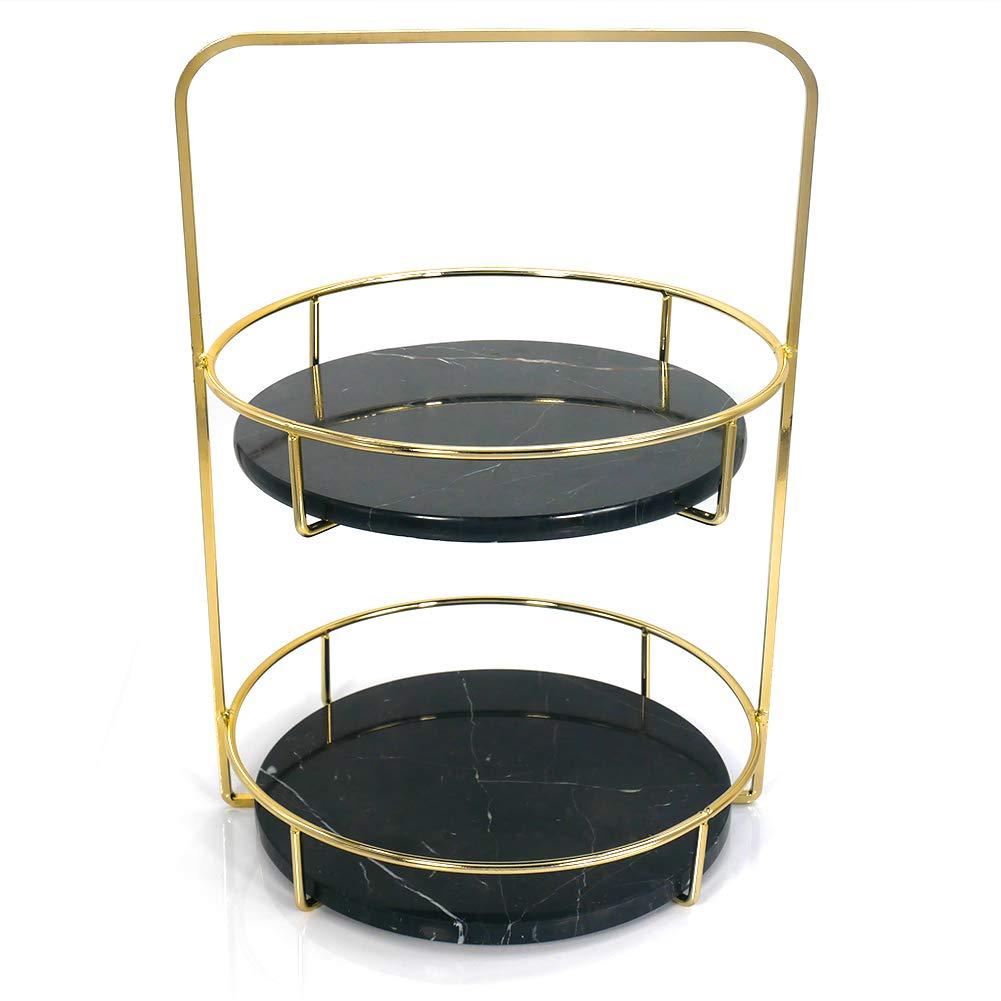 PuTwo Vanity Tray2 Tiers Black Marble Traywith Polished Gold Metal Handles Jewelry TrayHandmade Decorative TrayCatchall Trinket Dishfor Dresser Bathroom Vanity Table - Gold, Black by PuTwo