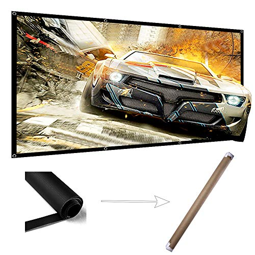 100 Inch Projector Screen Wrinkle Free Portable Indoor Outdo