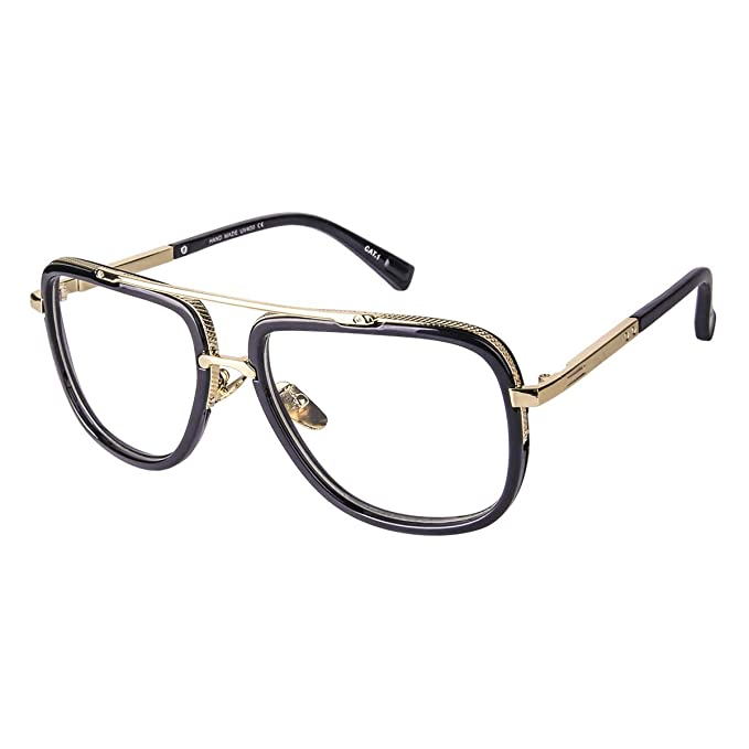 d6ad33e1d816 Oversized Square Glasses for Men Women Aviator Shades Gold Frame Retro  Brand Designer Transparent Lens