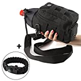 Water Bottle Carrier and Holder Bag - Molle Pouch Black Tactical for Hydration-Sport Travel Bicycle and Hiking 16 oz to 64 oz-Carrying Straps for Hand and Shoulder + Survival Bracelet Gift by P&P4EVER