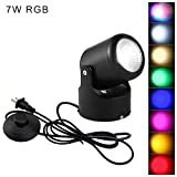 STGLIGHTING RGB High Accent Uplight 7W LED Spotlight Decorative Light Adjustable Body 5.12ft On/Off Foot Pedal Switch Cord for Loft Gallery Exhibition Stage Background Wall Spotlight BD0858