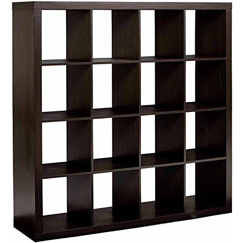 (Shelly Shelves Wood Storage Organizer - 16 Cube Storage Organizer - Espresso)