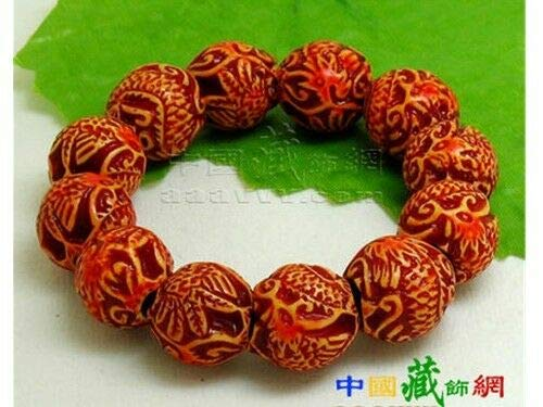 Delicately Carved Dragon - Stretchy Delicately Carved 16 Dragon Phoenix Yak Bone Beaded Amulet Bracelet #ID-642