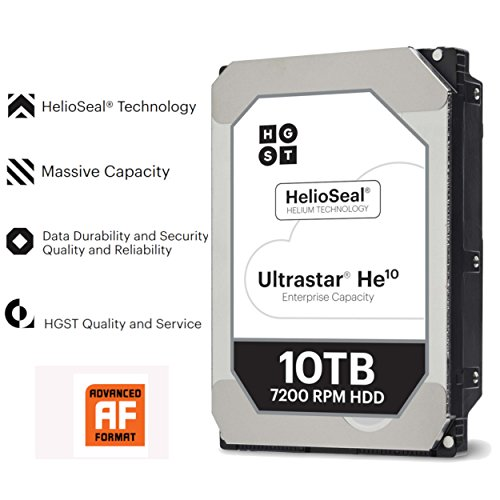 "HGST Ultrastar He10 | HUH721010ALE604 | 0F27473 | 512e | Reliable 2.5M MTBF | 10TB SATA 6.0Gb/s 7200 RPM 256MB Cache 7 pin Serial ATA 3.5""| 249MB/s Read | 237MB/s Write | Power Disable Feature | Helium Platform Enterprise Hard Disk Drive"