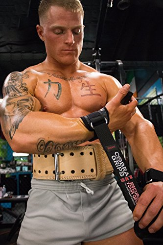 Cobra Grips PRO Best Weight Lifting Gloves, Heavy Duty Straps, Alternative to Power Lifting Hooks, Power Lifting, for Deadlifts with Built in Adjustable Neoprene Padded Wrist Wrap Support.