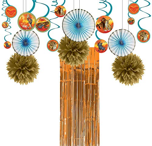 Party City Lion King Decorating Party Supplies, 21 Pieces, Includes Swirls, Pom Poms, Fans, and Fringe Curtain -
