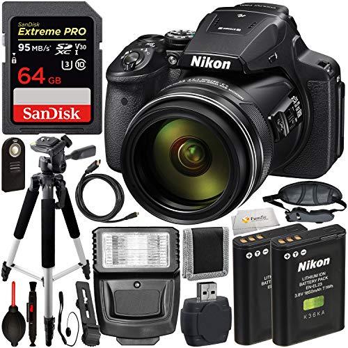 Nikon COOLPIX P900 Digital Camera with Starter Accessory Bundle - Includes: SanDisk Extreme PRO 64GB SDXC Memory Card, Digital Slave Flash, Wireless Shutter Remote, More (International Version) (Nikon Coolpix Flip)