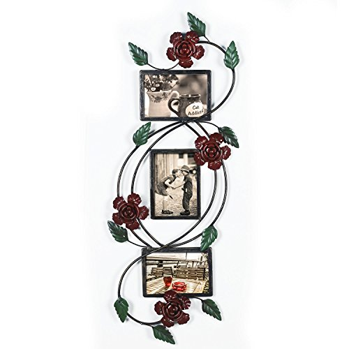 Adeco Brown Black Decorative 3-Opening Collage Bronze Iron Metal Wall Haning Picture Rose Scroll Photo Frame, 5x7