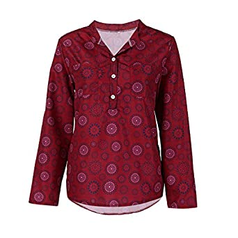 Women Vintage T-shirt Long Sleeve Vintage Polka Dot Floral Button Blouse Pullover Tops Shirt Tee