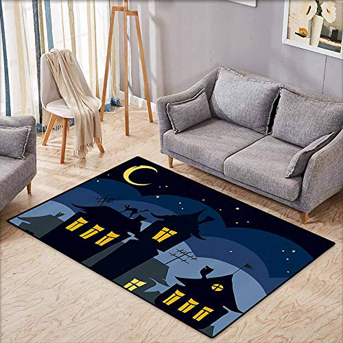 Collection Area Rug,Halloween,Old Town with Cat on The Roof Night Sky Moon and Stars Houses Cartoon Art,Rustic Home Decor,5'6