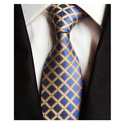 (Men's Classic Checks Light Blue Silver yellow Jacquard Woven Silk Tie Necktie + Gift)