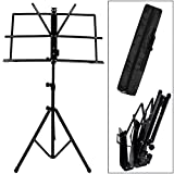 Coocheer Adjustable Metal Sheet Music Stand Folding Music Book Stand with Portable Waterproof Black Bag