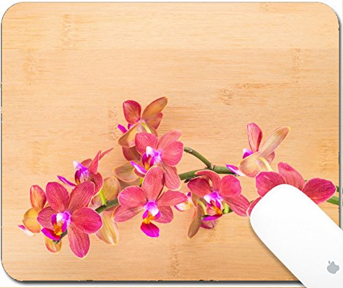 Luxlady Natural Rubber Gaming Mousepads spa concept red orchid on the bamboo 9.25in X 7.25in IMAGE: 25203500