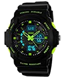 Auspicious beginning Classic outdoor series waterproof multi-functional dual time LED sports watch, green