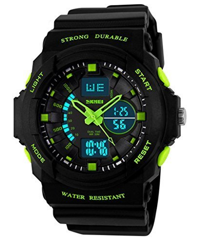 Auspicious beginning Classic outdoor series waterproof multi-functional dual time LED sports watch, green by Auspicious beginning