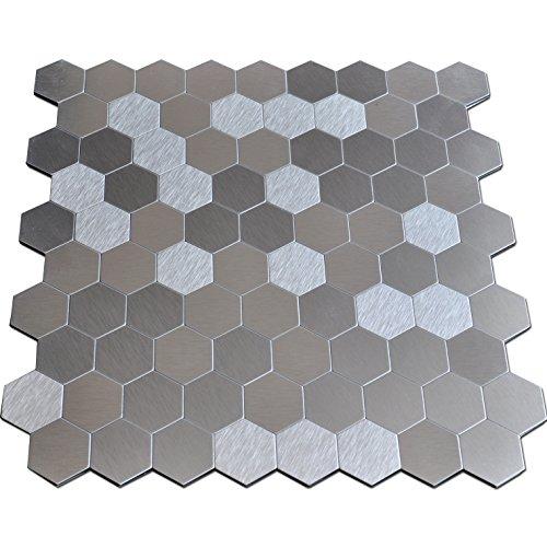 "delicate Art3d 12"" X 12"" Peel & Stick Metal Decorative Wall Tile, Brush Metal Hexagon"