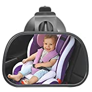 Bestgle Baby Car Mirror Rear Facing, 360 Degrees Adjustable Universal Auto Kids Rear Seat View Mirror with Suction Cup Base, Wide Convex Shatter-proof Glass for View Infant/Toddler Safety on Back Seat