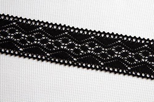 Color negro estilo Vintage Vieira/puntilla/zig-zag-polarmk 100% algodón ajuste encaje de ganchillo (5,3 cm, anchura) - 2 metros: Amazon.es: Hogar