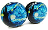 A Starry Night Ear Plugs - Acrylic Screw-On - New - 8 Sizes - Pair