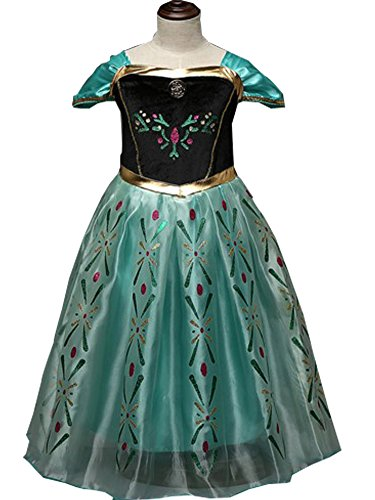[CXFashion Girls' Princess Anna Elsa Fever Fancy Dress Costume for Halloween Disguise(7-8Y)] (Anna Frozen Green Dress Costume)