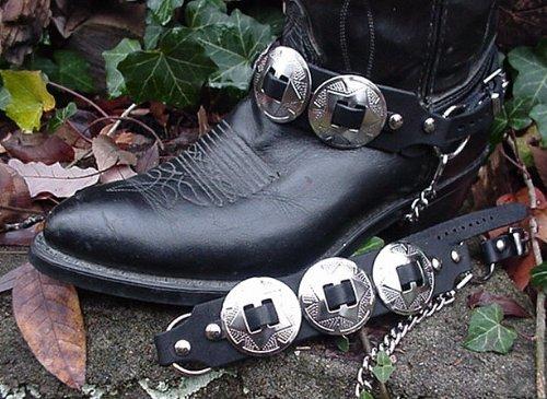 Western Boots Boot Chains Nero Top Pelle Di Vacchetta W 3 Grandi Conchos In Argento