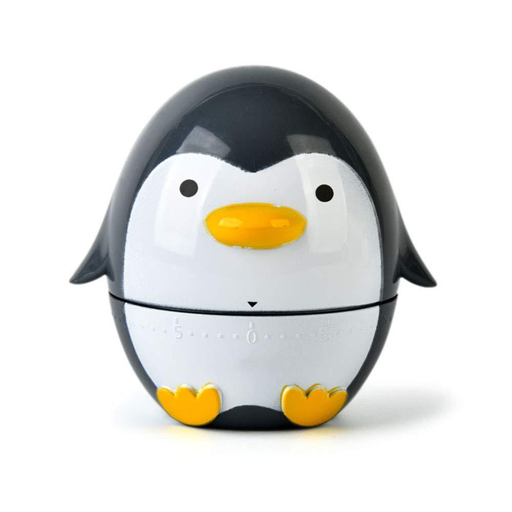 Kreativ Gadget K/üche Mini Pinguin Mechanisch Timer ABS Kunststoff 60 Minuten Erinnerung,Schwarz QYCL K/üchentimer Mechanisch
