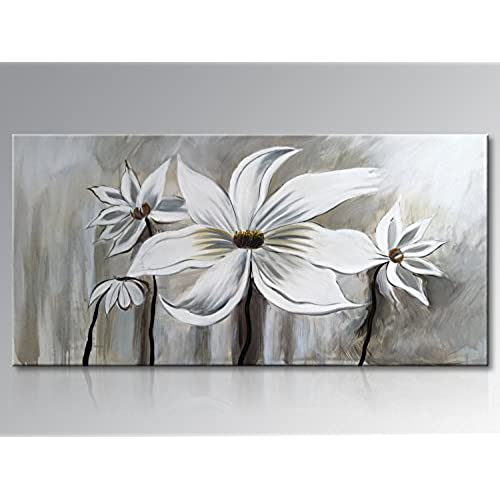Seekland Art Hand Painted Oil Painting On Canvas Floral Wall Abstract Black And White Lotus Decor For Bedroom Living Room Dining Office
