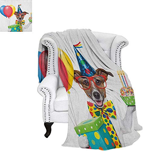(Kids BirthdayOffice Throwing blanketWaiter Server Party Dog with Hat Cone Cupcake Balloons Celebration BoxesOffice Warm Blanket 90