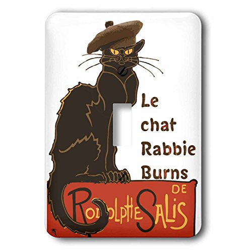Tam Single (3dRose Taiche - Vector - Burns Night - Le Chat Rabbie Burns With Tam OShanter - Light Switch Covers - single toggle switch (lsp_273644_1))