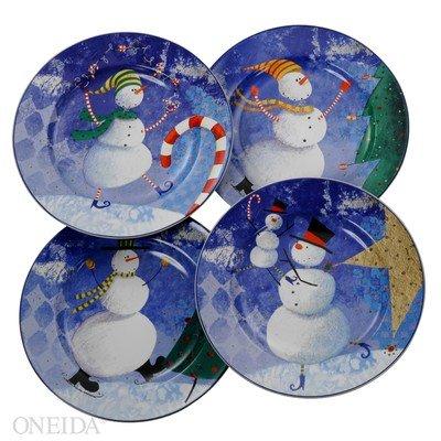 Oneida Snow Pals Salad/Dessert Plate Set (4) Snow Pals Snowman