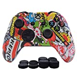 Hikfly Silicone Gel Controller Cover Skin Protector Kits for Xbox One Controller Video Games(1 x Controller Camouflage cover with 4 x Thumb Grip Caps)(White Cartoon)