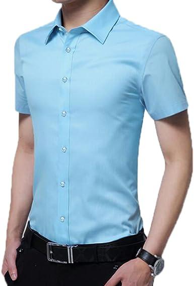 Camisa de Manga Corta Oxford para Hombre, Camisa Formal de Corte Ceñido: Amazon.es: Ropa y accesorios