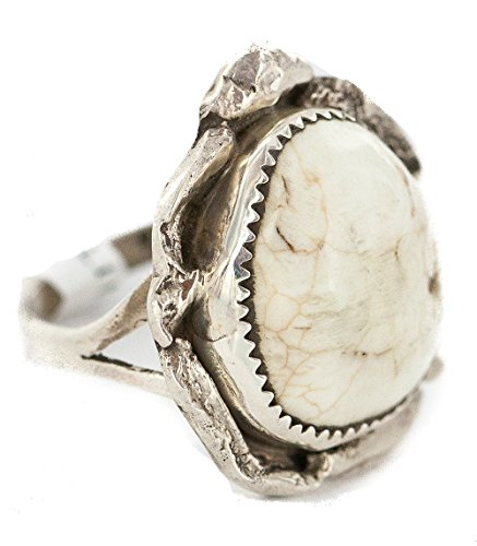Navajo Turquoise Ring - Large $430 Tag Handmade Authentic Silver Navajo Natural White Buffalo Turquoise Native American Ring