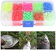Dioche Glow Fishing Beads, 1000pcs Outdoor Fishing Plastic Round Beads Fishing Tackle Lures with Carry Box