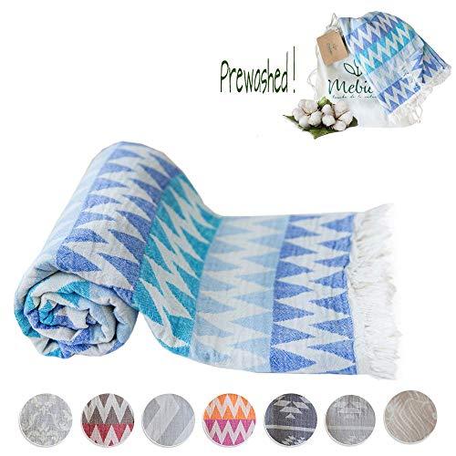 Mebien Turkish Beach Bath Towel-Blue Design Luxury peshtemal for spa Pool Bathroom Sand Free%100 Cotton Blanket Towels Set, Gift for Women Sizes: 33x66 inches