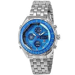 Eightgill Shark Men's LCD Digital Date Day Stopwatch Stainless Blue Dial Sport Wrist Watch SH110