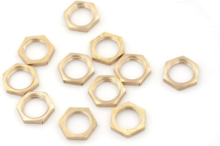 CHENHAN Hex Nut 10Pcs//Lot Brass Hex Lock Nuts Pipe Fitting M10 M12 1//4 BSP Female Thread Hexagonal Shank Cap Stainless