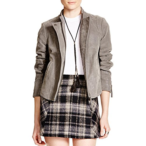Free People Womens Wool Blend Faux Leather Jacket Gray 4 (Wool People)