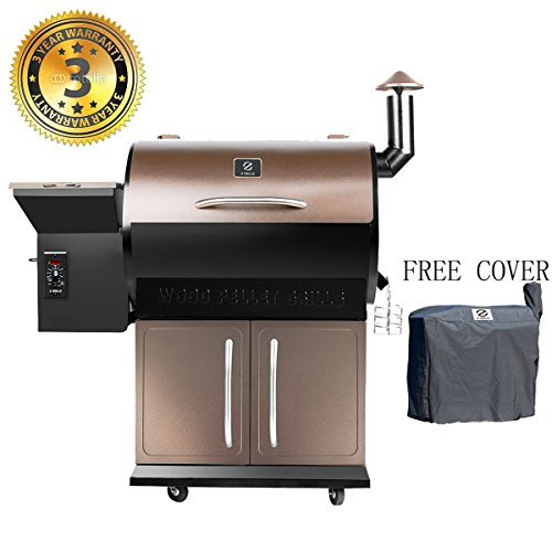 Sale!! Wood Pellet Grill & Smoker with Patio Cover,700 Cooking Area 7 in 1- Electric Digital Control...