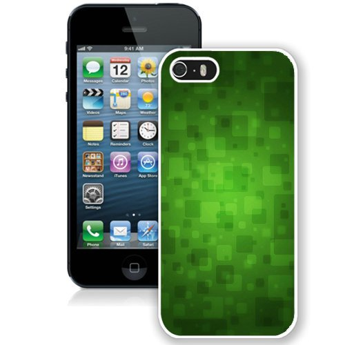 Coque,Fashion Coque iphone 5S Abstract Green Blocks blanc Screen Cover Case Cover Fashion and Hot Sale Design