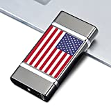 USA Flag Model - Dual Arc Automatic Rechargeable Electronic USB Lighter Flameless Windproof Lights Cigarettes Fast No Butane Or Gas LED Charging Indicator