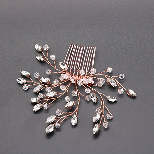 FXmimior Wedding Headpiece Crystal Rhinestone Hair Comb Hair Accessories for Bridal Bridesmaid Women (rose gold) by FXmimior