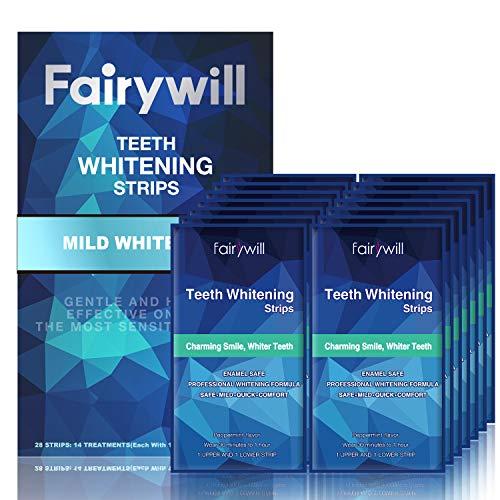 Fairywill Teeth Whitening Strips for Sensitive Teeth - Reduced Sensitivity Whitener strips, Gentle and Safe for Enamel, 3D Whitestrips Pack of 28 Strips