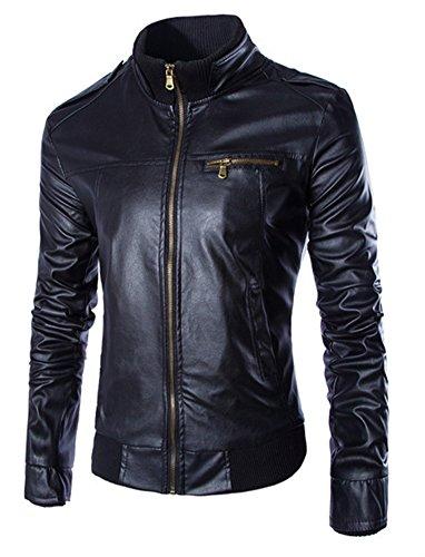 Leather Trim Motorcycle Jacket - 3