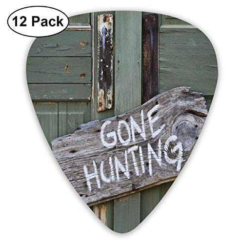 Guitar Picks 12-Pack,Gone Hunting Written On Wooden Board Old Worn Out Cottage Door Seasonal Hobby Fun