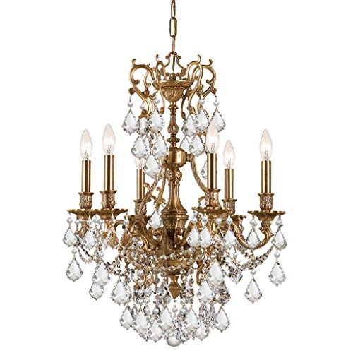 Crystorama Yorkshire Collection 6-Light Aged Brass/Crystal Chandelier - Gold